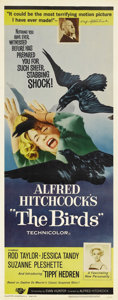"Movie Posters:Hitchcock, The Birds (Universal, 1963). Insert (14"" X 36""). Hitchcock'sclassic horror of an isolated community attacked by an evil flo..."