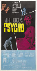"Movie Posters:Hitchcock, Psycho (Paramount, 1960). Three Sheet (41"" X 81""). AlfredHitchcock's ground-breaking nihilistic thriller terrifiedaudience..."