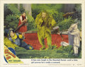 "Movie Posters:Musical, The Wizard of Oz (MGM, R-1949). Lobby Card (11"" X 14""). At onetime, the idea of using a real lion (with a voice dubbed in) ..."