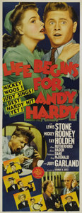 "Movie Posters:Comedy, Life Begins for Andy Hardy (MGM, 1941). Insert (14"" X 36""). Numberten in MGM's heart-warming (and immensely profitable) ""An..."