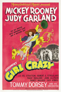 "Girl Crazy (MGM, 1943). One Sheet (27"" X 41"") Style C. Al Hirschfield art highlights this wonderful poster for..."