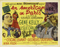 "Movie Posters:Academy Award Winner, An American in Paris (MGM, 1951). Half Sheet (22"" X 28"") Style B.Jerry Mulligan (Gene Kelly) is an ambitious starving artis..."