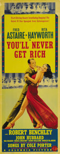"Movie Posters:Musical, You'll Never Get Rich (Columbia, 1941). Insert (14"" X 36""). Fred Astaire and Rita Hayworth appear together on this incredibl..."
