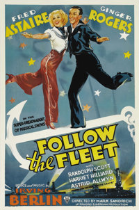 "Follow the Fleet (RKO, 1936). One Sheet (27"" X 41""). Fred Astaire and Ginger Rogers starred together in ten fi..."