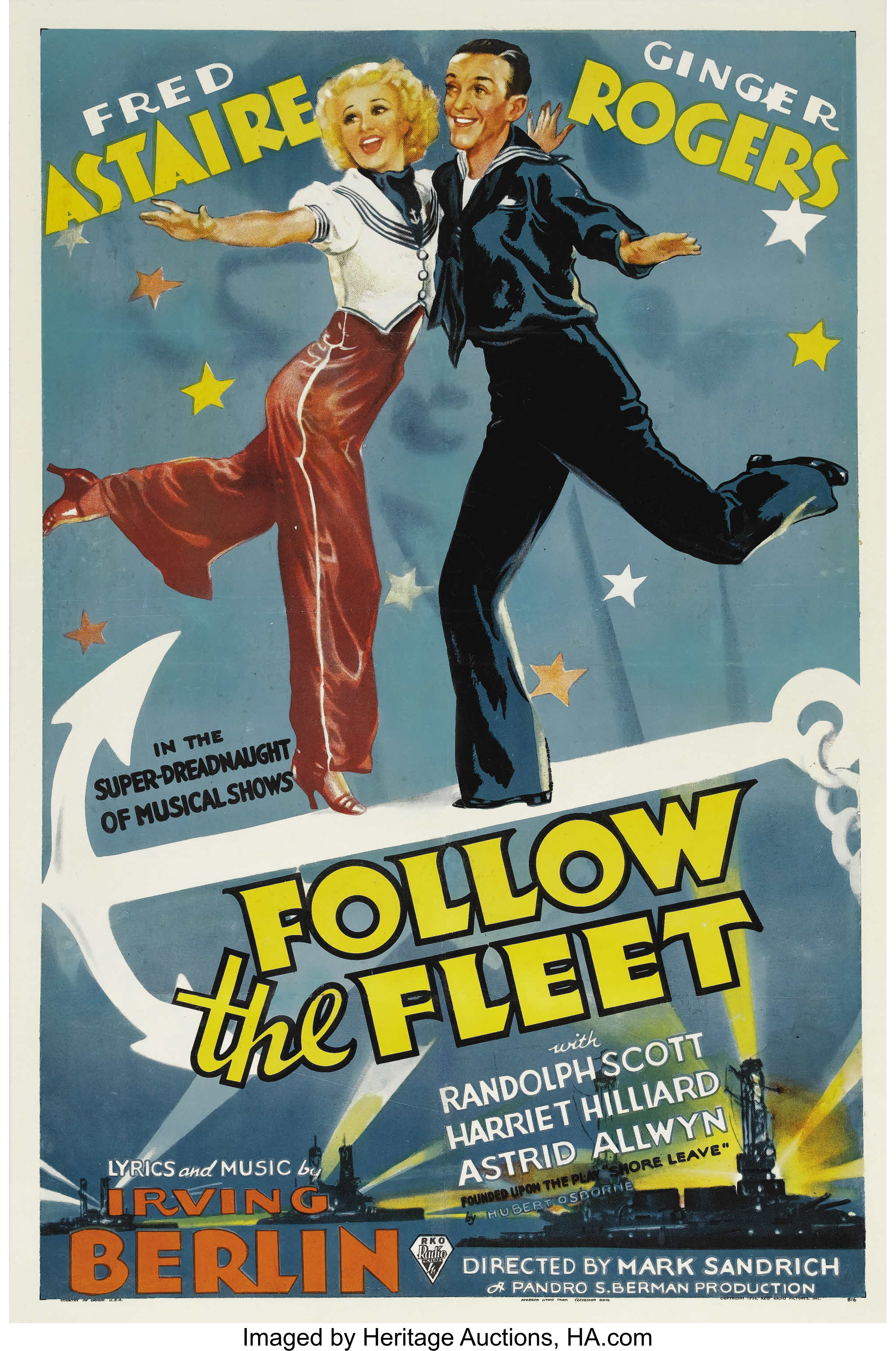Follow The Fleet Rko 1936 One Sheet 27 X 41 Fred Astaire Lot 28912 Heritage Auctions