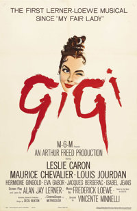 "Gigi (MGM, 1958). One Sheet (27"" X 41""). This Vincente Minnelli directed romantic musical Stars Leslie Caron..."