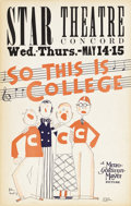 """Movie Posters:Musical, So This is College (MGM, 1929). Window Card (14"""" X 22""""). A scarce example of signed-in-the-plate artwork by John Held Jr. Fe..."""