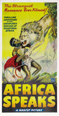 """Movie Posters:Documentary, Africa Speaks! (Mascot, 1930). Three Sheet (41"""" X 81""""). Colorado-based explorer Paul Hoefler leads a documentary crew to the..."""