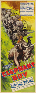 "Movie Posters:Adventure, The Elephant Boy (United Artists, 1937). Insert (14"" X 36""). Thebrothers Alexander and Zoltan Korda were renowned for their..."