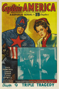 "Movie Posters:Serial, Captain America (Republic, 1944). One Sheet (27"" X 41""). Chapter 9--""Triple Tragedy."" This 15-episode Republic serial was b..."