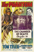 "Movie Posters:Serial, The Phantom (Columbia, 1943). One Sheet (27"" X 41"") Chapter 10 -- ""The Chamber of Death."" Tom Tyler, Jeanne Bates and Ace th..."