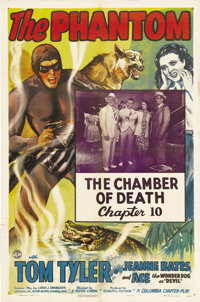 "The Phantom (Columbia, 1943). One Sheet (27"" X 41"") Chapter 10 -- ""The Chamber of Death."" Tom Tyler..."