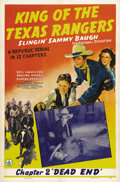 """Movie Posters:Serial, King of the Texas Rangers (Republic, 1941). One Sheet (27"""" X 41"""") Chapter 2 -- """"Dead End."""" This was the great football hero ..."""