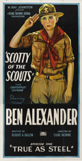 "Movie Posters:Serial, Scotty of the Scouts (Rayart Pictures, 1926). Three Sheet (41"" X81""). Presumed lost, this silent serial was produced by a s..."