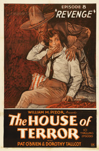 "The House of Terror (William Pizor, 1928). One Sheet (27"" X 41""). Chapter 8 -- ""Revenge"". The classi..."
