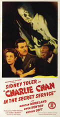 "Movie Posters:Mystery, Charlie Chan in the Secret Service (Monogram, 1944). Three Sheet(41"" X 81""). Great poster featuring Sidney Toler as the fam..."