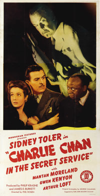 "Charlie Chan in the Secret Service (Monogram, 1944). Three Sheet (41"" X 81""). Great poster featuring Sidney To..."