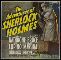 "The Adventures of Sherlock Holmes (20th Century Fox, 1939). Six Sheet (81"" X 81""). Considered to be one of the..."