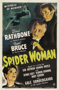 "Movie Posters:Mystery, The Spider Woman (Universal, 1944). One Sheet (27"" X 41""). Someoneor something in London has driven several men to madness ..."