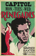 """Movie Posters:Adventure, Renegades (Fox, 1930). Window Card (14"""" X 22""""). Not only is theresloe-eyed Myrna Loy in a low-back red dress, but get this ..."""