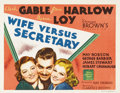 """Movie Posters:Comedy, Wife Versus Secretary (MGM, 1936). Title Lobby Card (11"""" X 14""""). The historic team of Clark Gable and Jean Harlow, along wit..."""