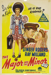 "The Major and the Minor (Paramount, 1942). Australian One Sheet (27"" X 40""). This unforgettable comedy, the fi..."