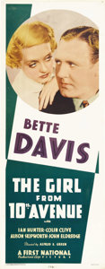 "Movie Posters:Drama, The Girl from 10th Avenue (First National, 1935). Insert (14"" X36""). This comedy drama features Bette Davis as a shop girl ..."
