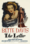 "Movie Posters:Film Noir, The Letter (Warner Brothers, 1940). One Sheet (27"" X 41""). BetteDavis is a cold-blooded killer who quips, ""I still love the..."
