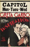 "Movie Posters:Romance, Inspiration (MGM, 1931). Window Card (14"" X 22""). Greta Garbo asYvonne, a Parisian belle with ""a history."" When her past re..."