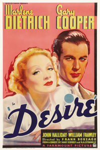 "Desire (Paramount, 1936). One Sheet (27"" X 41""). Marlene Dietrich stars as a seductive jewel thief who steals..."