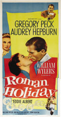 "Movie Posters:Romance, Roman Holiday (Paramount, 1953). Three Sheet (41"" X 81""). Twenty-four-year-old Audrey Hepburn won an Academy Award for her p..."