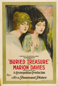"""Buried Treasure (Paramount, 1921). One Sheet (27"""" X 41""""). This gorgeous double image poster portrays two diffe..."""
