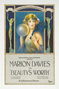"Movie Posters:Drama, Beauty's Worth (Paramount, 1922). One Sheet (27"" X 41""). This wasan early film in Marion Davies career in which she plays a..."