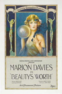 """Beauty's Worth (Paramount, 1922). One Sheet (27"""" X 41""""). This was an early film in Marion Davies career in whi..."""