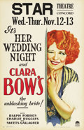 "Movie Posters:Comedy, Her Wedding Night (Paramount, 1930). Window Card (14"" X 22""). Whata fabulous image of the ""It"" Girl herself, Clara Bow, win..."