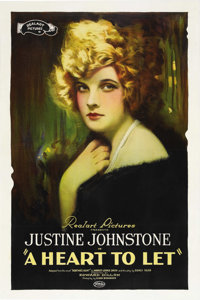 """A Heart to Let (Realart, 1921). One Sheet (27"""" X 41""""). This melodrama stars Justine Johnstone and the original..."""