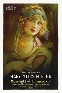 """Moonlight and Honeysuckle (Realart, 1921). One Sheet (27"""" X 41""""). Mary Miles Minter stars in this comedy about..."""