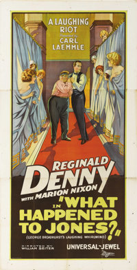 "What Happened to Jones (Universal, 1926). Three Sheet (41"" X 81""). Reginald Denny was one of the most popular..."
