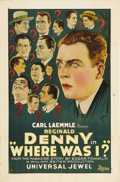 "Movie Posters:Comedy, Where Was I? (Universal, 1925). One Sheet (27"" X 41""). During the1920s, Reginald Denny was popular in pictures for portrayi..."