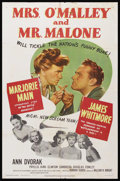 "Movie Posters:Mystery, Mrs. O'Malley and Mr. Malone (MGM, 1951). One Sheet (27"" X 41"").Mystery. Starring Marjorie Main, James Whitmore, Dorothy Ma..."