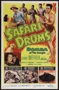 "Movie Posters:Adventure, Safari Drums (Allied Artists, 1953). One Sheet (27"" X 41"").Adventure. Starring Johnny Sheffield as Bomba the Jungle Boy, Do..."