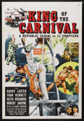 "Movie Posters:Serial, King of the Carnival (Republic, 1955). One Sheet (27"" X 41""). Serial. Starring Harry Lauter, Fran Bennett, Keith Richards an..."