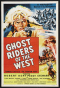 "Movie Posters:Serial, Ghost Riders of the West (Republic, 1954). One Sheet (27"" X 41"").Serial. Starring Robert Kent, Peggy Stewart, LeRoy Mason, ..."