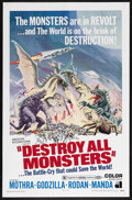 "Movie Posters:Science Fiction, Destroy All Monsters (Toho, 1968). One Sheet (27"" X 41""). Sci-FiHorror. Starring Mothra, Godzilla, Rodan and Ghidorah. Dire..."