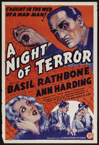 "A Night of Terror (Guaranteed Pictures, 1937). One Sheet (27"" X 41""). Thriller. Starring Basil Rathbone and An..."
