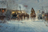 G. (Gerald Harvey Jones) Harvey (American, 1933-2017) Leaving the Spit and Whistle Club, 1994 Oil on canvas 24 x 36 i