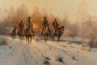 G. (Gerald Harvey Jones) Harvey (American, 1933-2017) Cold Leather--Cold Bits, 1987 Oil on canvas 26 x 38 inches (66