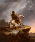 Paintings, Alfred Jacob Miller (American, 1810-1874). Crow Indian on the Lookout (Indian on White Horse). Oil on ...