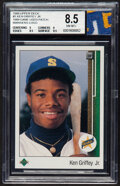 Baseball Cards:Singles (1970-Now), 1989 Upper Deck Ken Griffey Jr. (with a piece of 1989 Game-Used Mariners Jersey Patch) #1 BGS NM-MT+ 8.5....