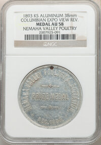 1893 Nemaha Valley Poultry Prize Medal, Columbian Expo View Reverse, AU58 NGC. Kansas. Holed, aluminum, 38 mm